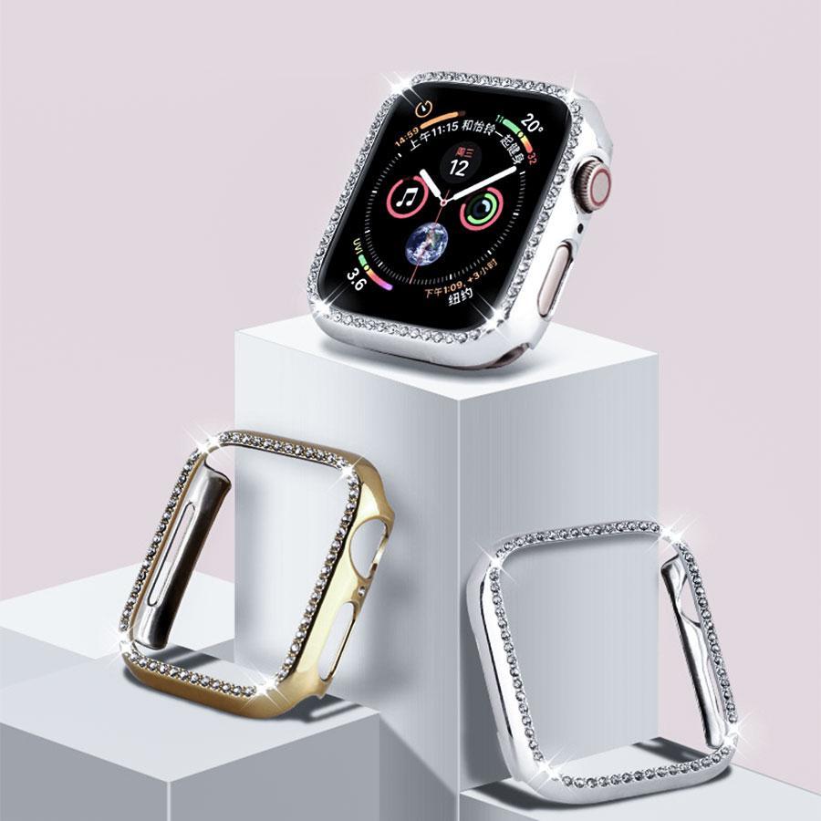 Cristal Bumper Rhinestone Protector Capa Para Apple Watch 38mm 44mm Diamante PC Banhado Caso de Relógio para iWatch Série 4/3/2/1 40mm 42mm