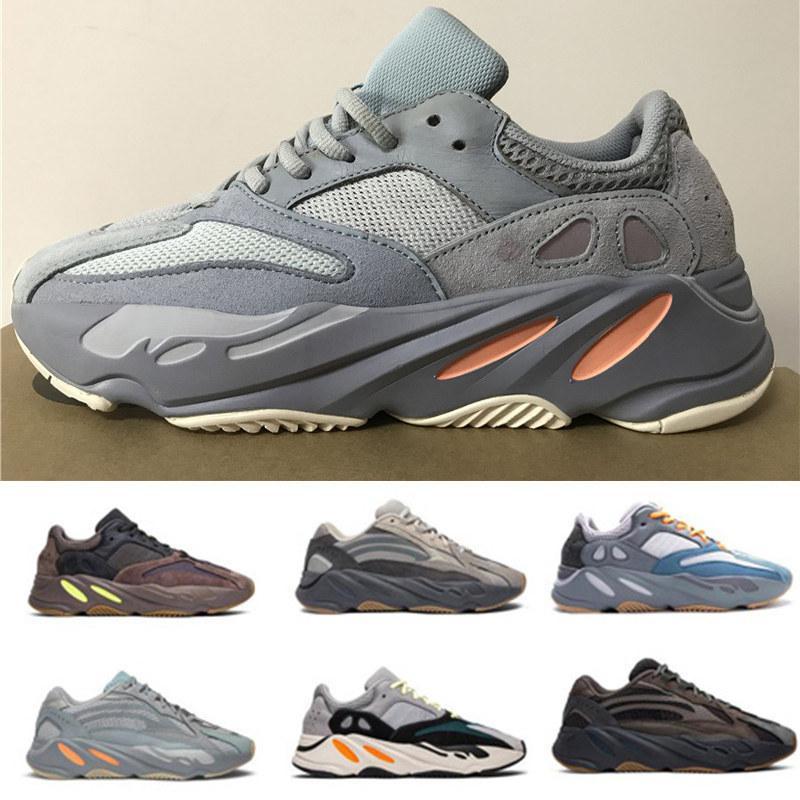 Zapatos para correr 700 carbono trullo imán Magnet Hospital azul Kanye West reflectante azul entrenador mujeres de los hombres del deporte del zapato atlético sólido de calidad superior