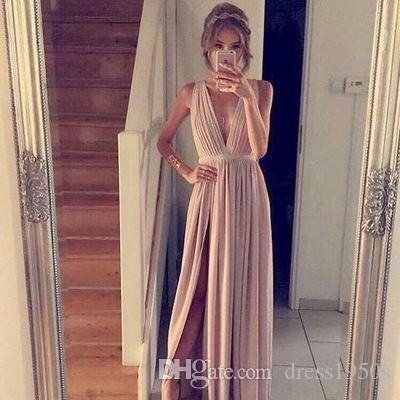 Simple Long Prom Dress V-Neck Tank Chiffon Front Split Formal Gowns For Teens Evening Dresses for Women