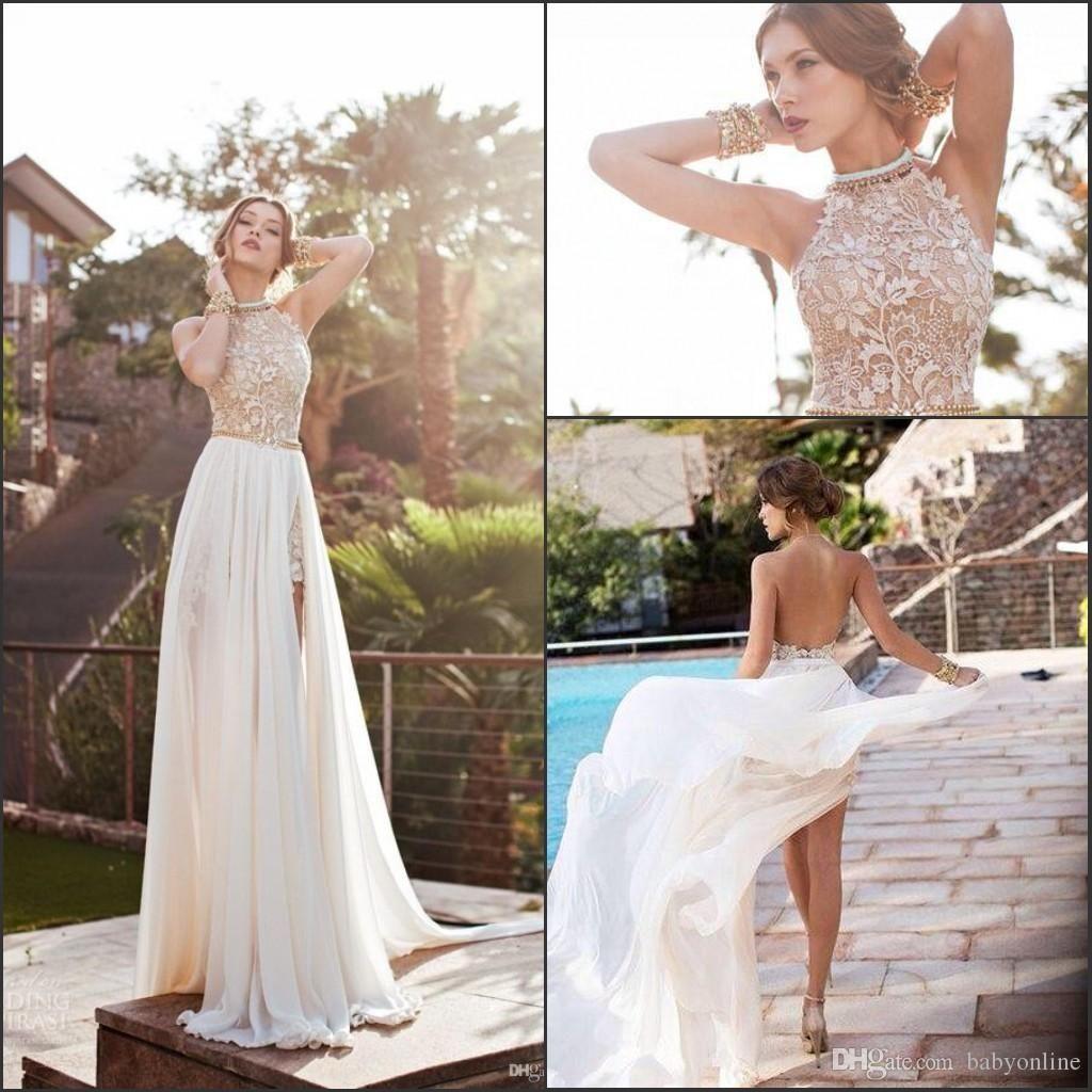 Bohème gaine robes de mariée Une ligne Halter Neck Backless haut fendus dentelle en mousseline de soie plage Appliques Robes de mariée CPS231