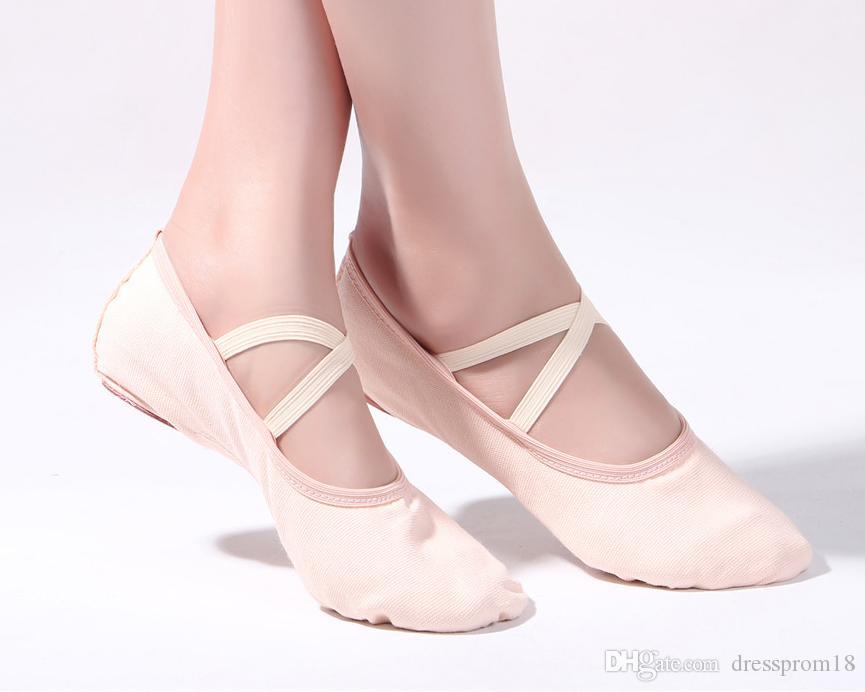 Canvas Womens Ballet Shoes Ballroom dança Chinelos Adulto Suede Split-Sole Ballerina Ballet Costume Flat Shoes 2019