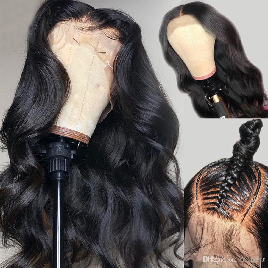 360 parrucca frontale del pizzo parrucca piena parrucche di pizzo anteriore del pizzo parrucche dei capelli umani brasiliani parrucca del corpo brasiliano parrucca per le donne nere Capelli umani