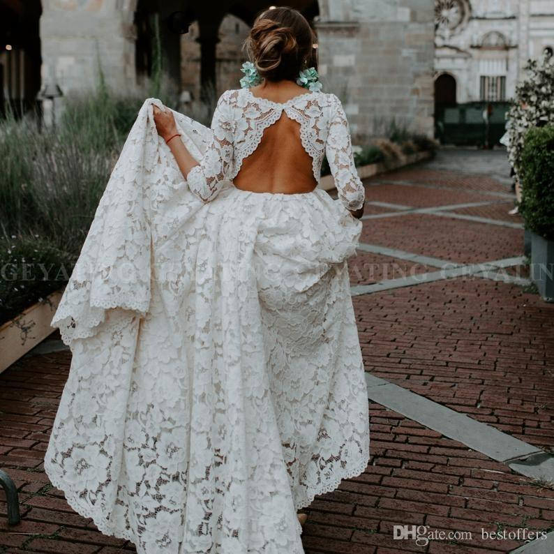 2020 Beautiful Bohemian Beige Lace Open Back Wedding Dress with Sleeves Vintage Boho Beach Wedding Dresses Country Plus Size Bridal Gown