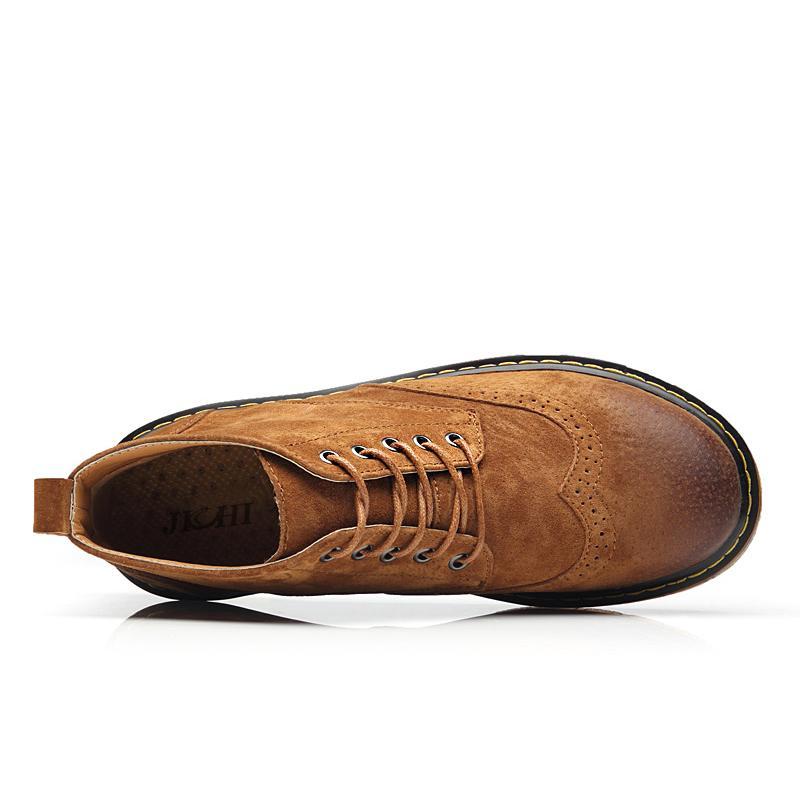 2018 Leather Casual Men Autumn Winter Ankle Fashion Lace-Up British Style Short Boots Men Quality Retro Men Shoes