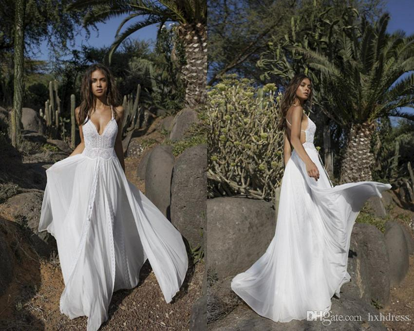 Asaf Dadush Boho Wedding Dresses Backless Chiffon Sexy Front Split V Neck Beach Wedding Gowns Custom Made Plus Size Bridal Dress 4367