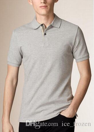Gli uomini di estate di nuovo cotone classico camice casual Polo Horse Ricamo Spring Business manica corta solido Londra Brit T-Shirt supera i T Nero Rosso