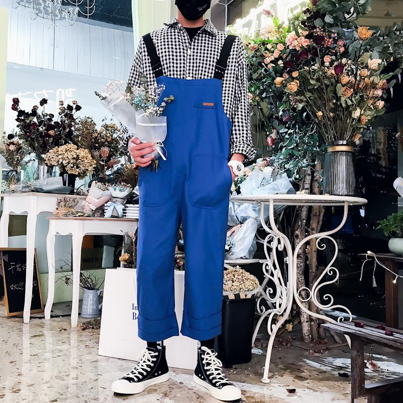 2019 New Japanese Hipster Style Overalls Couple's Cropped Nine-point Bib Casual Wild Jumpsuits Man Suspender Pants