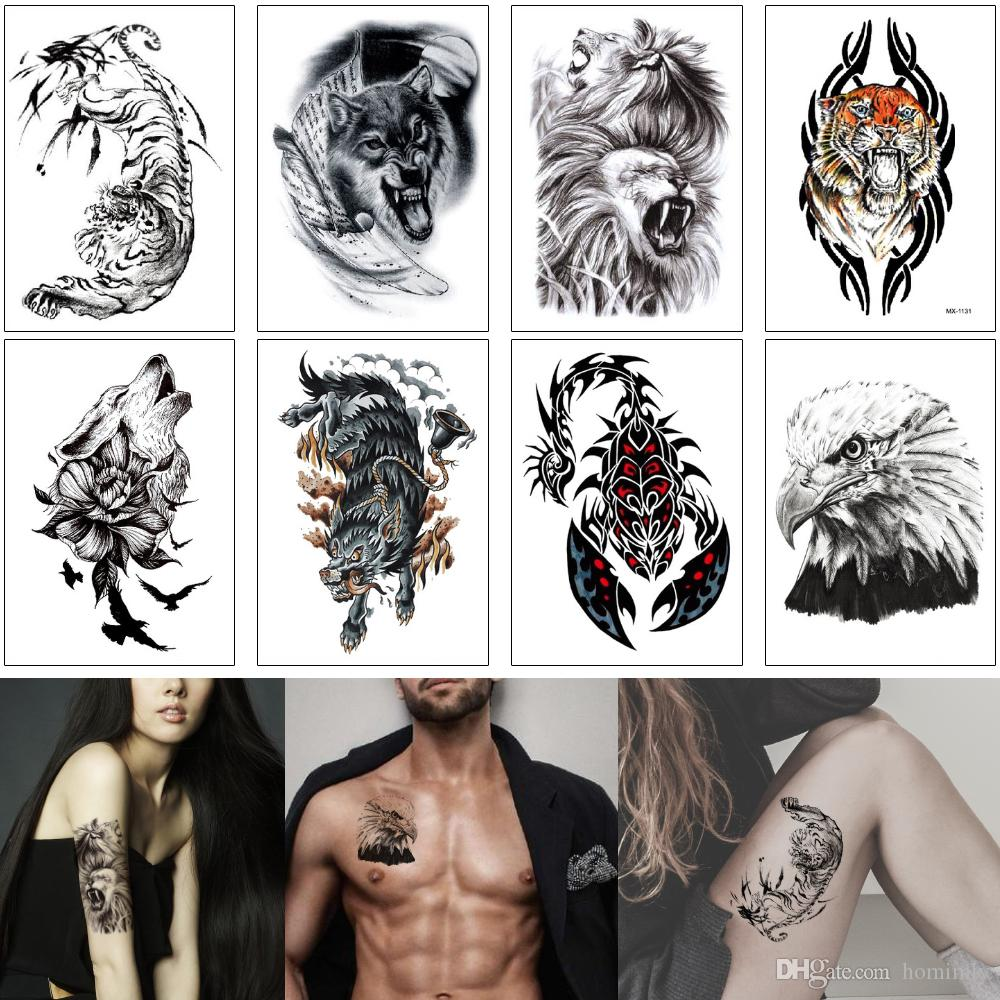 Fake Black Animal Temporary Tattoo Sticker Fashion Lion Tiger Wolf Scorpion Fox Design Summer Beach Gift Tattoo Body Art for Woman Man Party