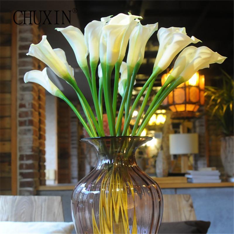 Высокое качество 63см Real сенсорный callalily PU Искусственные цветы из шелка цветы Главная украшения для свадебного банкета T191102