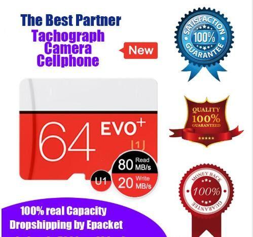 بطاقة 64GB EVO زائد U1 C10 CLASS10 الذاكرة مايكرو التنمية المستدامة بطاقة TF UHS-I HD 100٪ ريال مدريد سعة مايكرو Epacket DHL