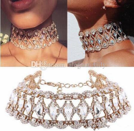 2020 Luxury Hollow Flower Crystal Rhinestone Choker Collane Collane Collane Donne Gold Argento Collana Catena Gioielli di nozze per il regalo del partito