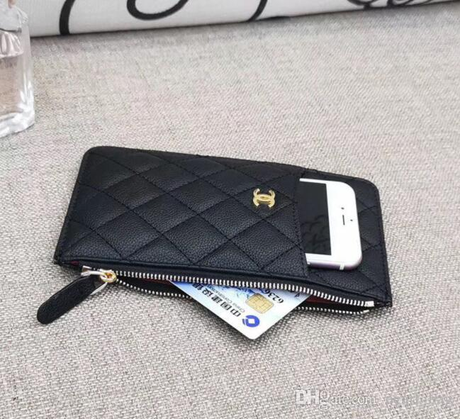 Frauen Handytasche Reißverschlusstasche Mappen-Luxus VIP Geschenk Leder Kreditkartenbeutel Designerinnen-Name-Kartenhalter Beste Art Null-Geldbeutel