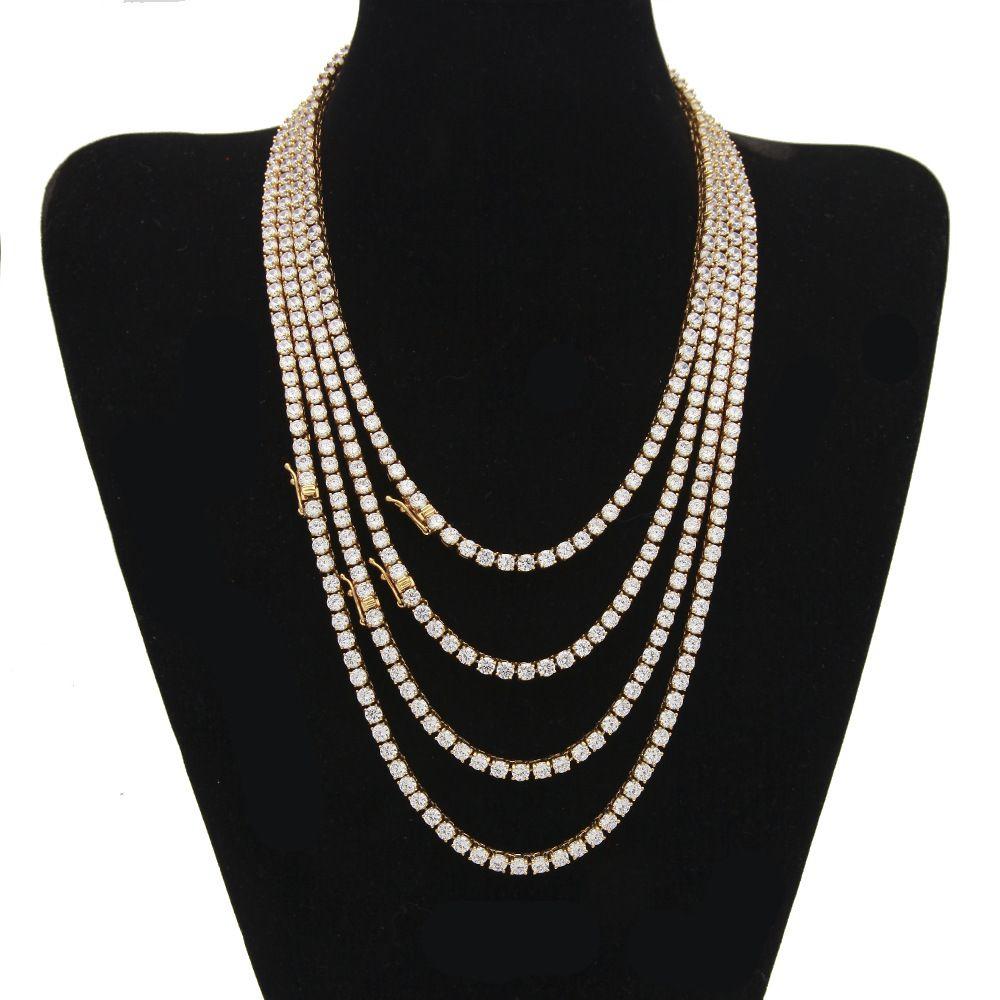 4 mm Hip Hop Bling Iced Out collar de cadena de tenis oro plata 1 fila CZ collar de circonio cúbico