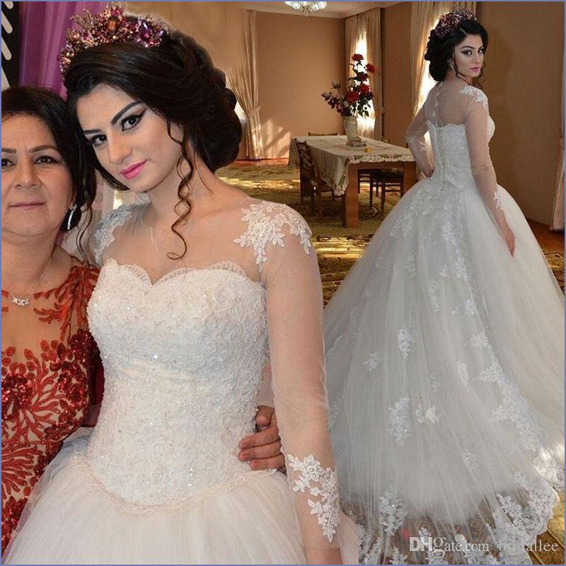 Manches longues Robe De Noiva 2019 Robes De Mariée Musulmanes Robe De Bal En Tulle Dentelle Perlé Vintage Robe De Mariée De Mariée