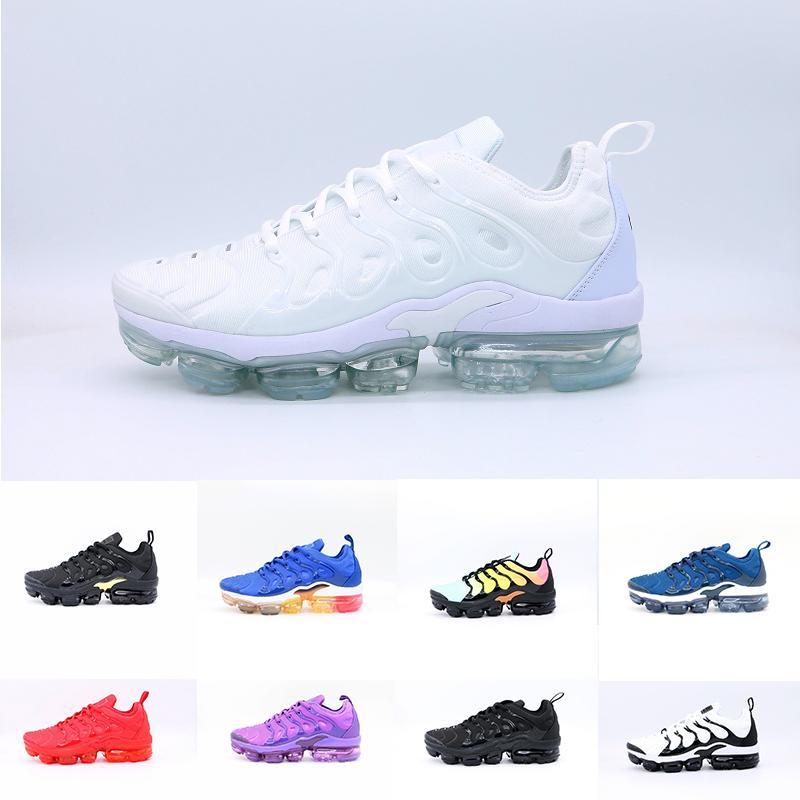 Tn más los zapatos Triple Negro Blanco Azul trasera roja Hombres Mujeres Zapatos corrientes baratos Trainer Cojín tamaño de calidad superior Tn Requin zapatillas de deporte 36-45
