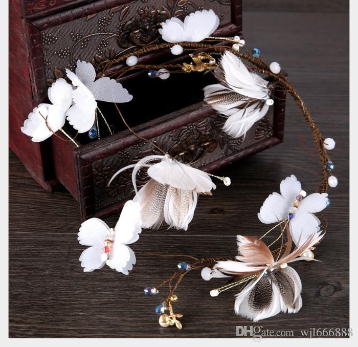 Bride's Hair Belt Smart Feather Butterfly Soft Hair Hoop Headdress Korean Bride's Marriage Accessories