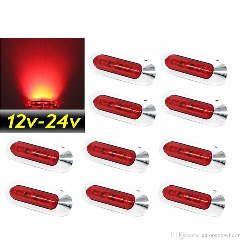 10PCS Waterproof Side Marker Lights Lamp Trailer Pickup LED Red 12V 24V