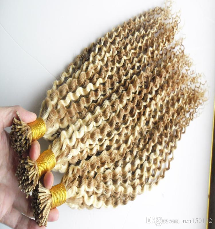 Brasileiro Kinky Curly Cabelo Queratina I Dica Extensões de Cabelo 1.0G / S 300G Non-Remy 100% Humano Ceratin Stick Dica Extensões de Cabelo
