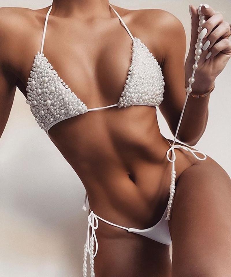 Mayo bayan boncuklu kayış bölünmüş mayo düz renk yaz seksi bikini famale tasarımcı