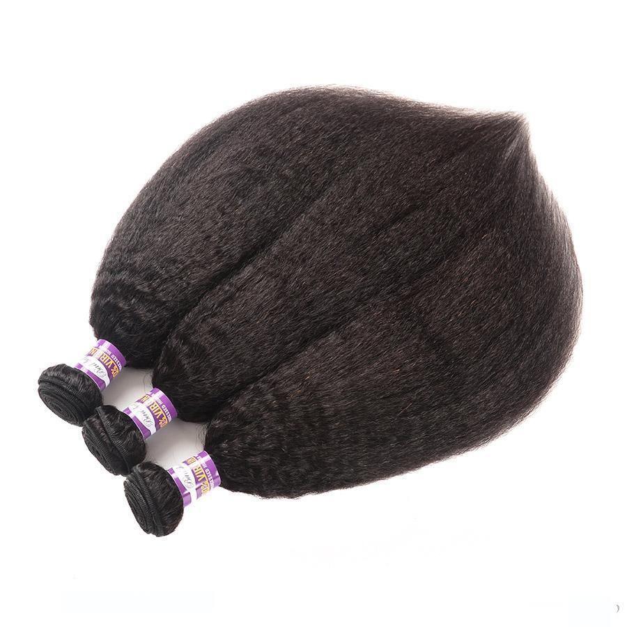 H 8a recto rizado 3 de Mongolia pelo de la Virgen de lotes en color natural 100% extensiones del cabello humano grueso Yaki recto rizado que teje