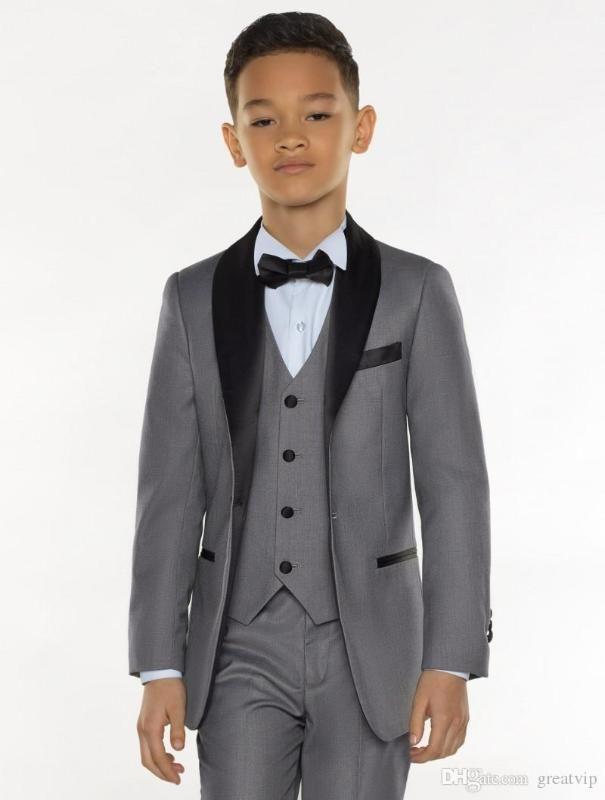 2020 Gray Boy Formal Suits Dinner Tuxedos Little Boy Groomsmen Kids Children For Wedding Party Prom Suit Wear (Jackets+Vest+Pant