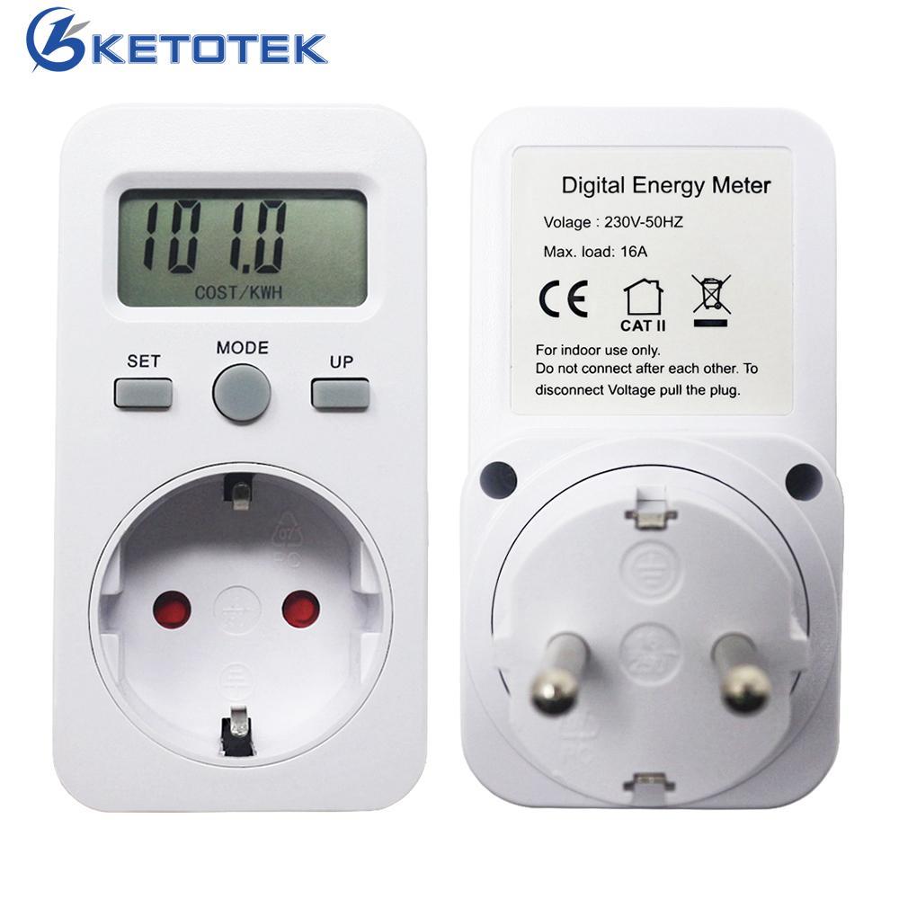 EU Plug Plug-in Energy Meter AC 230V 16A 3680W Digital Wattmeter LCD Display Power Monitor Watt Meters Energy Detector