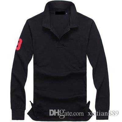 plus la taille 19 couleurs Polo Hommes de couleur unie Casual Polo Livraison gratuite manches longues d'été Chemise en coton hommes Broderie Casual Shirt
