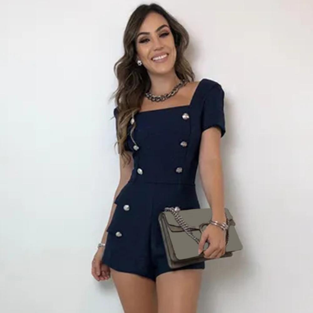 Salopette da donna Casual da donna Bottone slim fit Tuta da ufficio elegante Blu scuro Pagliaccetti neri Tute da donna Novità D35
