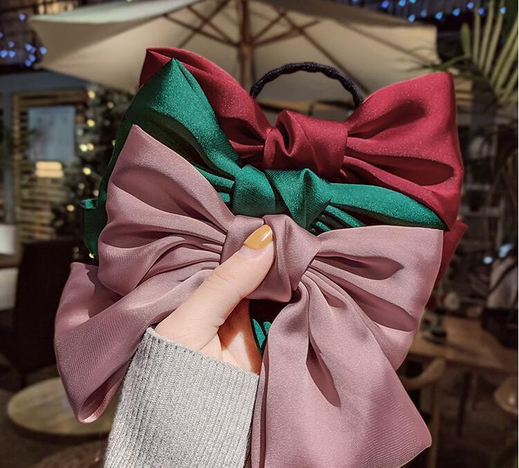 Mignon Bownot élastique cheveux Élastique Bow cheveux clip Attache à ressort bande Stripe poney Tails Holder Accessoire cheveux cadeau pour les femmes Fille