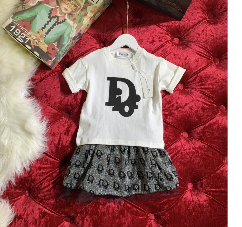 Девушки костюм юбка мода чистый хлопок нить воротник футболки высокое качество пряжи юбка костюм 031410