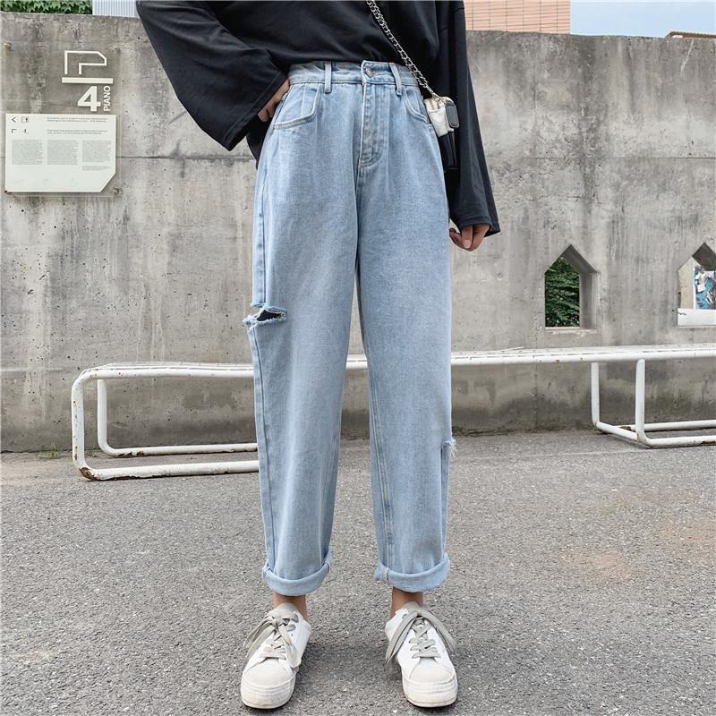 Kore Stil Gündelik Yüksek Waisted Kadınlar Streetwear Harem Kot Pantolon Ayak bileği uzunluğu boyunca kot Kadın erkek arkadaş Ripped Jeans Womens