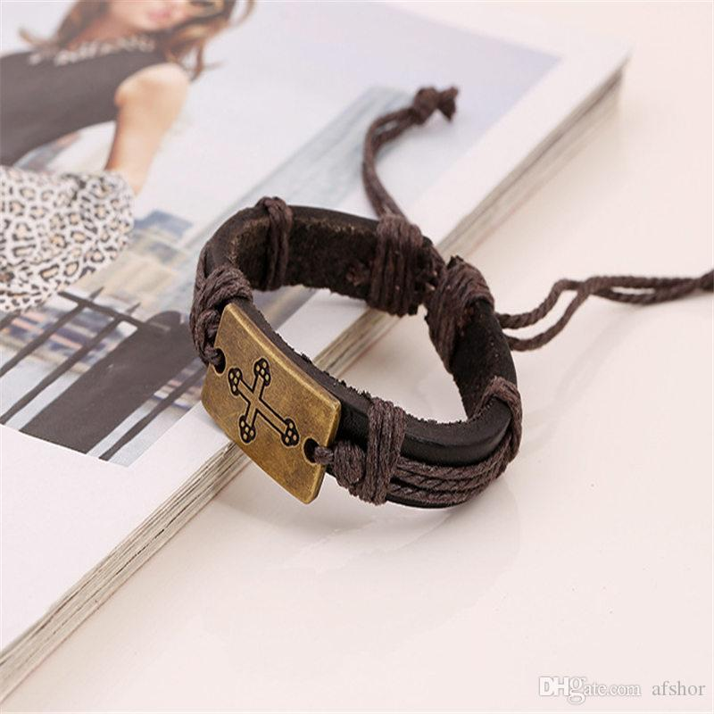 2019 New Christian Cross Jesus Bracelets Luxury Fashion Handmade Brown Cowhide Genuine Leather Rope Charm Bangles For Women Men Jewelry Gift
