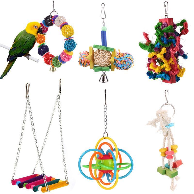 1pc oiseaux perroquet Jouets Cage boule colorée silicone Hanging jouet pour Perroquets Perruche Cockatiel oiseaux swing Produits pour animaux de compagnie