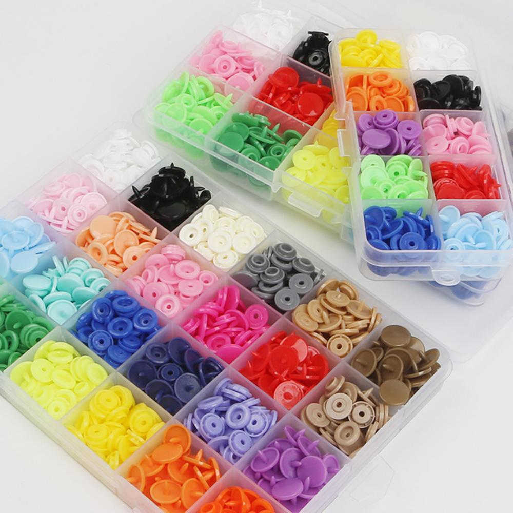 T5 Snaps Buttons 240sets Craft Fastener 12mm No-Sew Resin Buttons With Storage Box For Baby Fabric Cloth Diaper Sliders Buckle