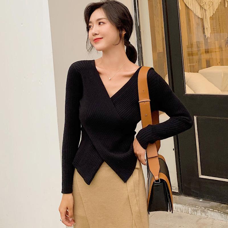 2019 automne manches longues version coréenne croix V-cou de tempérament élégant pull femme pull couleur unie