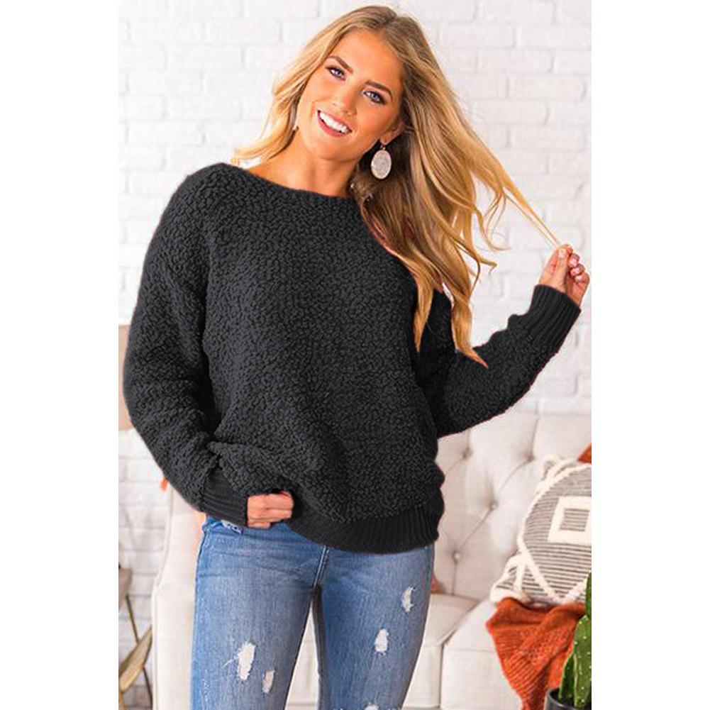 2019 New Sexy Backless Crew Neck Sweater Mulheres pulôver Outono Inverno Casual camisola de malha Femme pulôver Jumpers SY270014