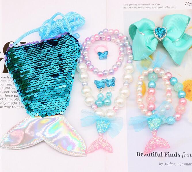 10 couleurs enfants sirène Frozen Parure perles collier bracelet boucles d'oreilles multi anneau Wallet Clipper enfants fille cadeau bijoux boîte 1 pour 6 pcs