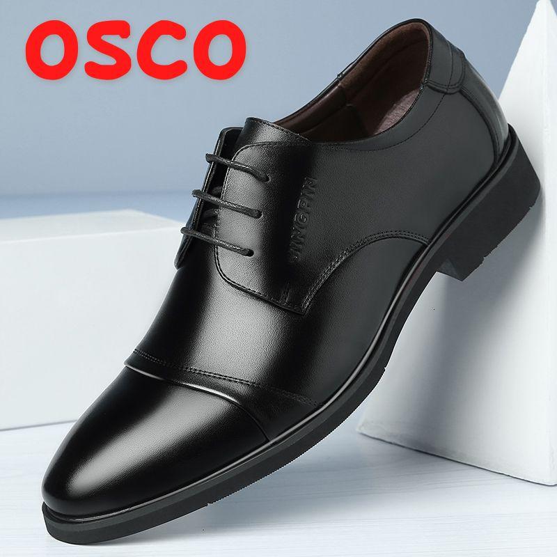 OSCO Automne Hiver Nouvelle Respirant Robe d'affaires Chaussures croute de cuir pour hommes Pointu formels Hommes Derby Chaussures à lacets Bureau Oxfords SH190926