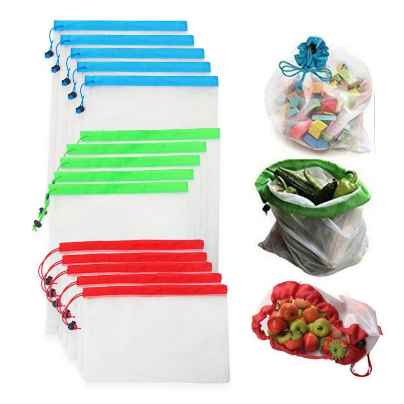 Bakkal Alışveriş Depolama Meyve Sebze Oyuncak Sundries Çanta için 12pcs / lot Yeniden kullanılabilir Mesh üretin Çanta Yıkanabilir Çevre Dostu Çanta