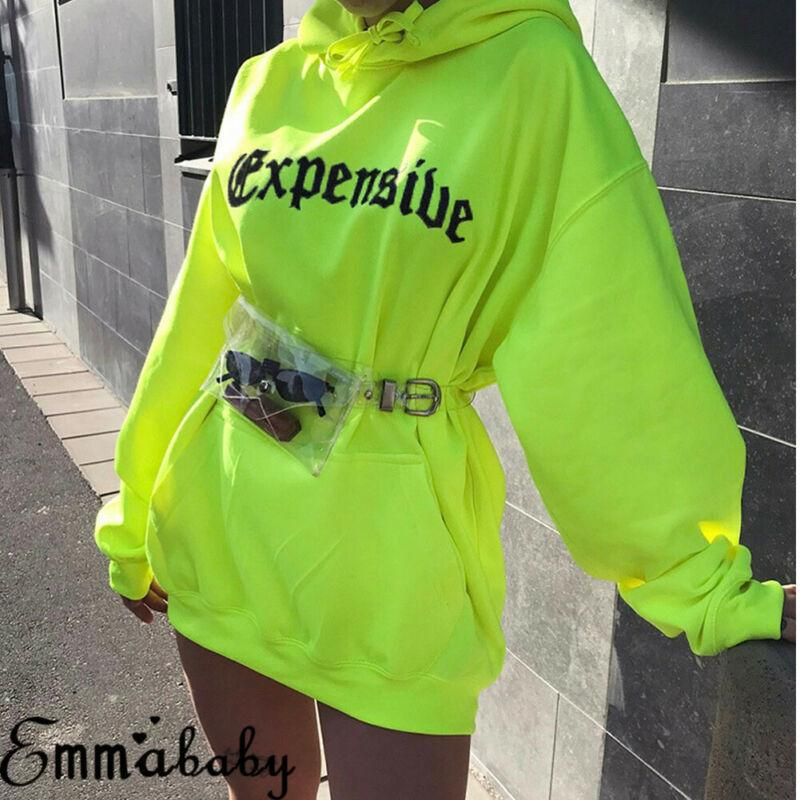 Mode Frauenbrief gedruckt Lose Lange Lange Hoodie Sweatshirt Leuchtstofffarbe Pullover