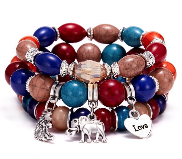 vendita calda amore elefante amore ali pietra naturale braccialetto set WY534