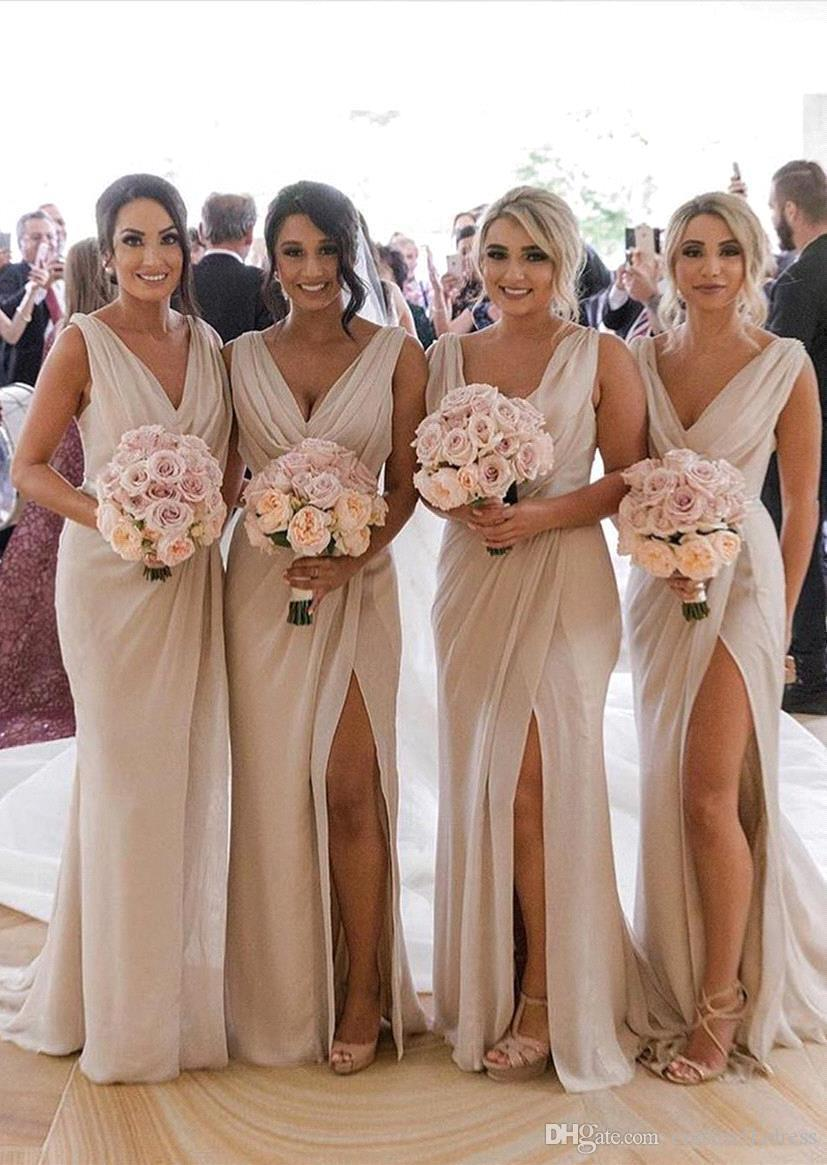 2020 Elegant Summer Wedding Chiffon Ivory Bridesmaid Dresses Sexy Front Split V Neck Maid Of Honor Gown Bm0203 Lilac Bridesmaid Dresses Uk Magenta Bridesmaid Dresses From Cinderelladress 84 93 Dhgate Com