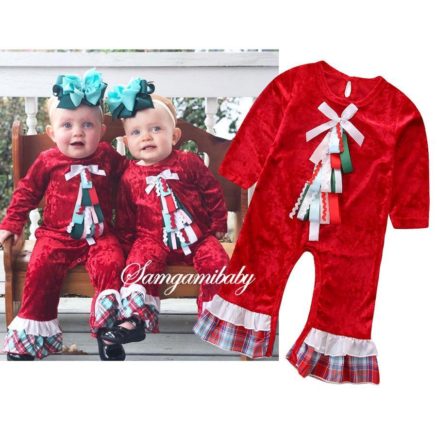 الأطفال مصمم الملابس iss الأحمر بأكمام طويلة كشكش القوس رومتر عيد الميلاد حللا ربيع الخريف طفلة ملابس RRA1706