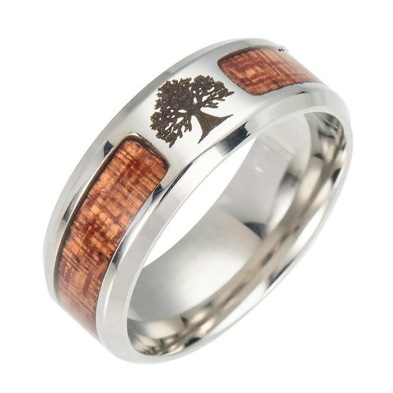 Wholesale-jewelry men rings luxury women rings Titanium stainless steel with wood setting life tree cross NE1063