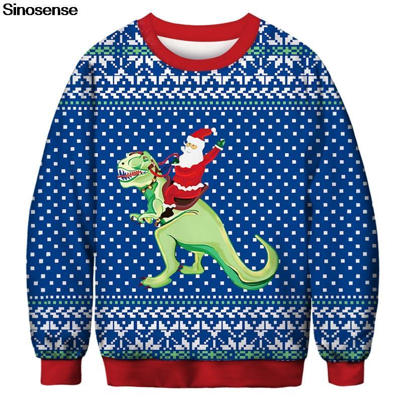 New Autumn Christmas Sweatshirt Uomo Donna Streetwear Pullover Maglione All Over Printed 3D Babbo Natale Dinosaur Felpe con cappuccio Tops larghi