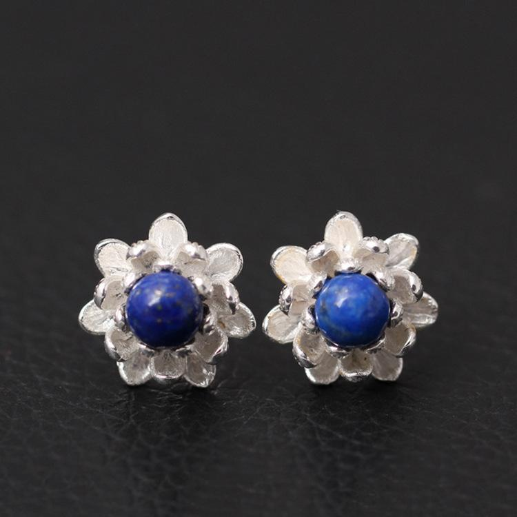 925 Sterling Silver Lapis Lazuli Lotus Flowers Stud Earrings For Women Elegant Lady Prevent Allergy Sterling-silver-jewelry T190626