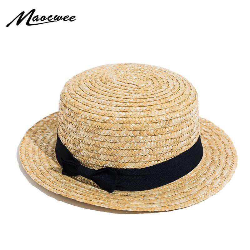 Sun Caps Ribbon Round Flat Top Straw Beach Hat Panama Hat Summer Hats for Women Straw Hat