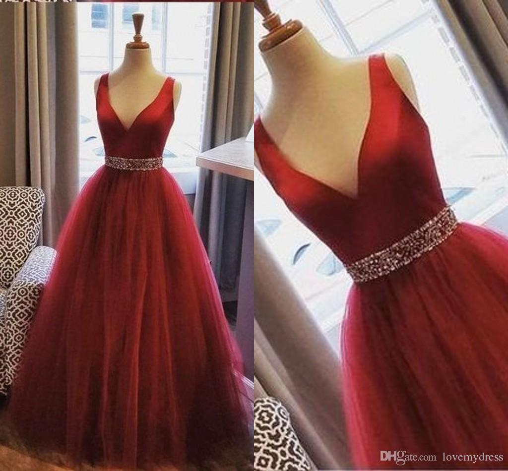 Beaded Belt Tulle Red Prom Dresses Princess Empire Waist Sexy Deep V-neck Open Back Dresses Evening Wear paolo sebastian Cocktail Party Gown