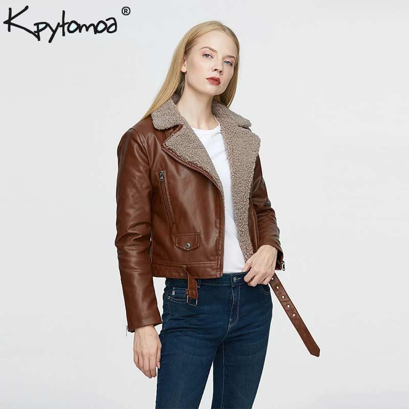 Vintage Leather Elegante Faux Motociclista Jacket Casaco feminino 2019 Moda Lapel Collar manga comprida Pockets Inverno Quente senhoras Casacos