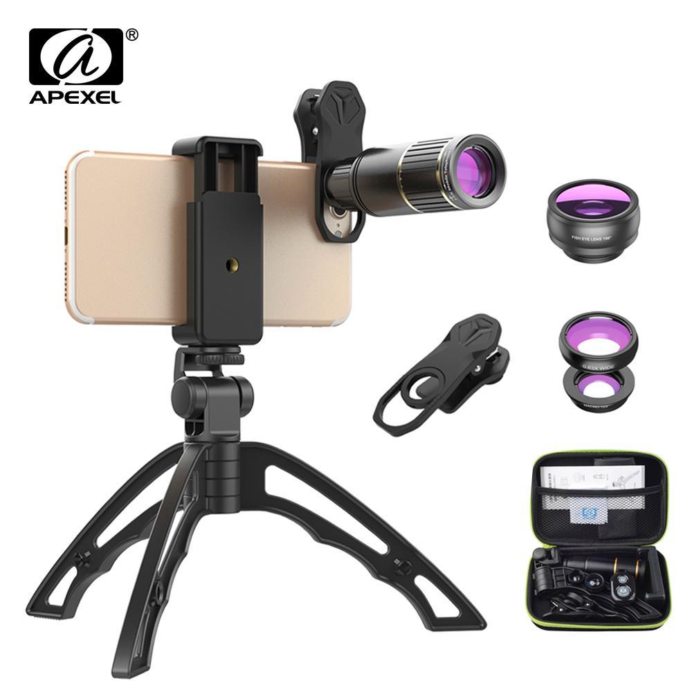 Оптовая камеры телефона объектив комплект универсальный металл 16х телескоп телефото объектив+штатив для селфи+ 3 в 1 линзы для Samsung и otherphones